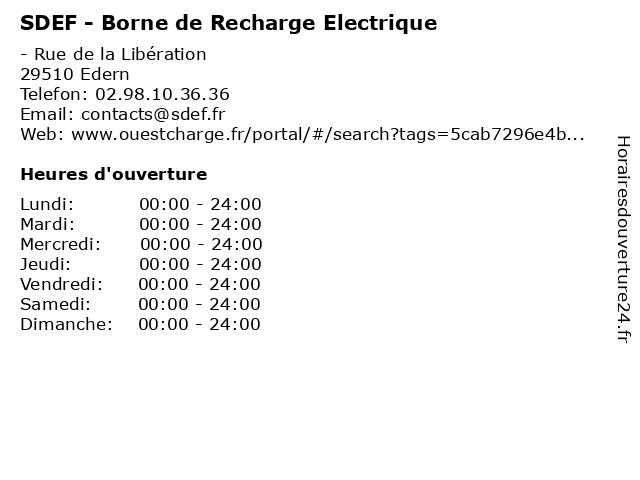 SDEF - Borne de Recharge Electrique à Edern: adresse et heures d'ouverture