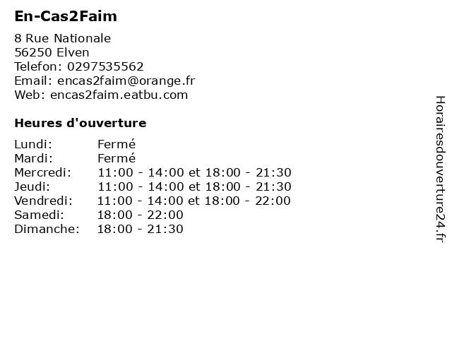 En-Cas2Faim à Elven: adresse et heures d'ouverture
