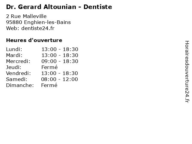 Dr. Gerard Altounian - Dentiste à Enghien-les-Bains: adresse et heures d'ouverture