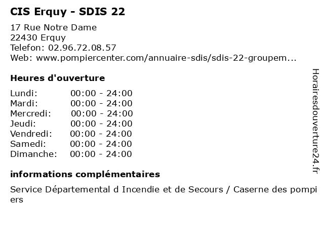 CIS Erquy - SDIS 22 à Erquy: adresse et heures d'ouverture