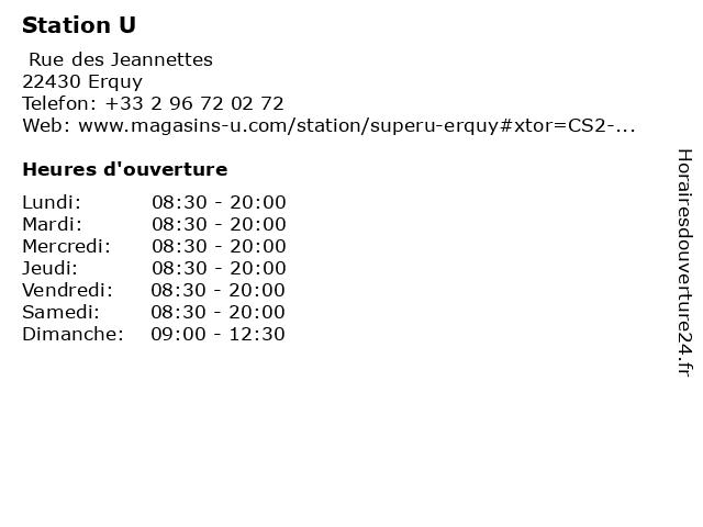 Station U à Erquy: adresse et heures d'ouverture