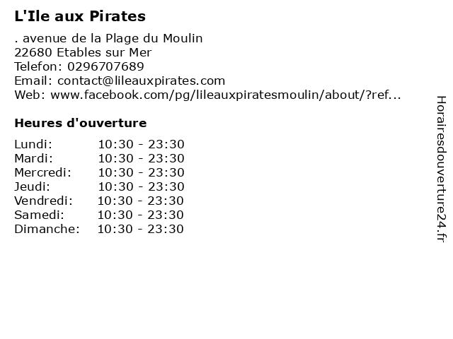 L'Ile aux Pirates à Etables sur Mer: adresse et heures d'ouverture