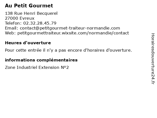 Au Petit Gourmet à Evreux: adresse et heures d'ouverture
