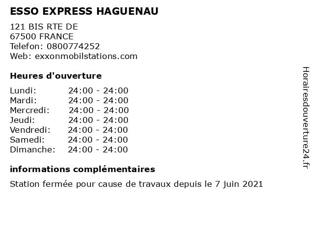 ESSO EXPRESS HAGUENAU à FRANCE: adresse et heures d'ouverture