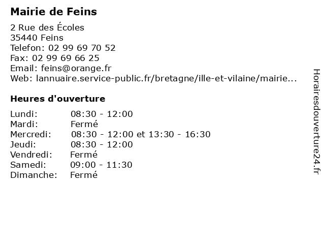 Mairie de Feins à Feins: adresse et heures d'ouverture