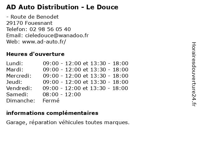 AD Auto Distribution - Le Douce à Fouesnant: adresse et heures d'ouverture