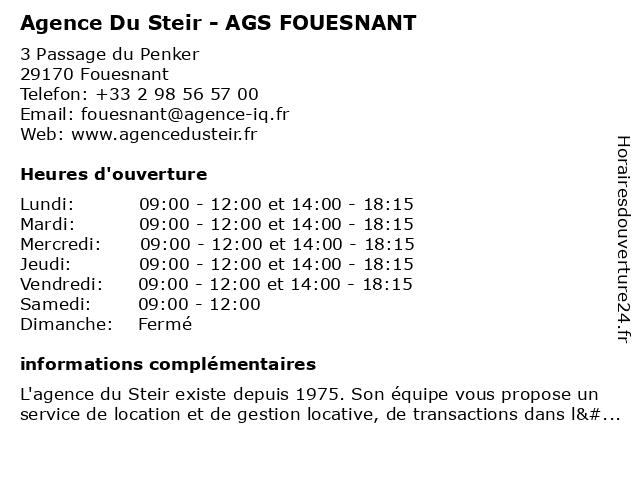 Agence Du Steir - AGS FOUESNANT à Fouesnant: adresse et heures d'ouverture