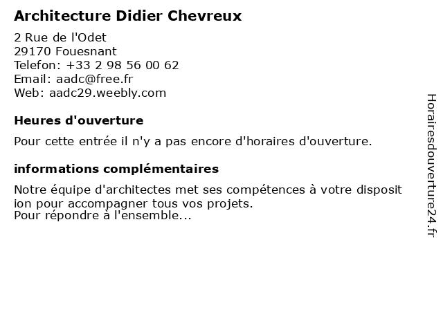 Architecture Didier Chevreux à Fouesnant: adresse et heures d'ouverture