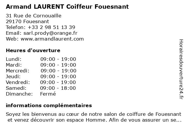 Armand LAURENT Coiffeur Fouesnant à Fouesnant: adresse et heures d'ouverture