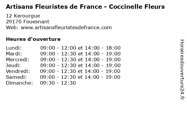 Artisans Fleuristes de France - Coccinelle Fleurs à Fouesnant: adresse et heures d'ouverture