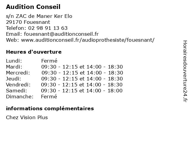Audition Conseil à Fouesnant: adresse et heures d'ouverture