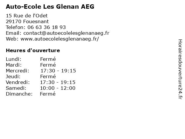 Auto-Ecole Les Glenan AEG à Fouesnant: adresse et heures d'ouverture
