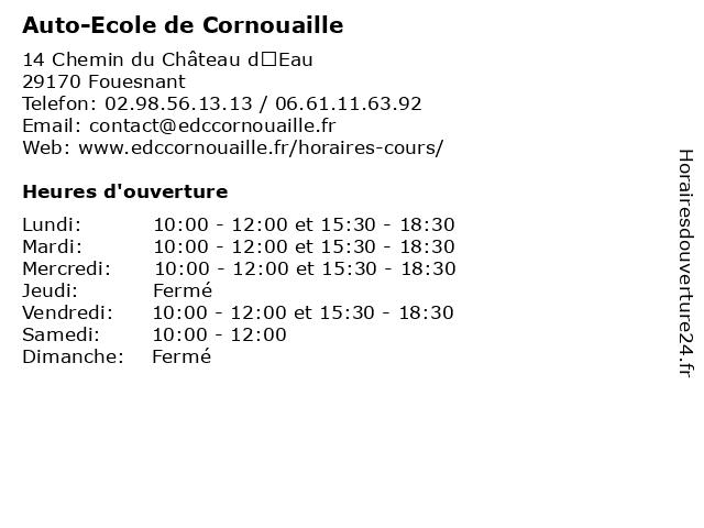 Auto-Ecole de Cornouaille à Fouesnant: adresse et heures d'ouverture
