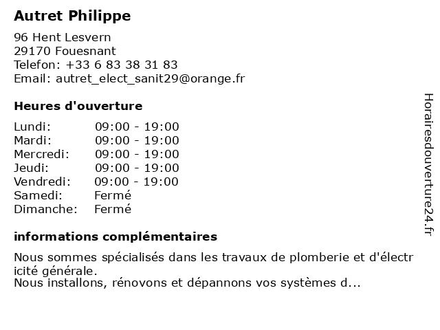 Autret Philippe à Fouesnant: adresse et heures d'ouverture