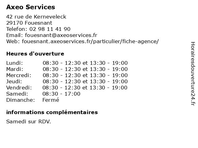 Axeo Services à Fouesnant: adresse et heures d'ouverture