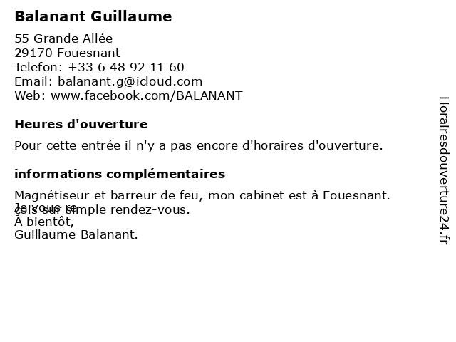 Balanant Guillaume à Fouesnant: adresse et heures d'ouverture