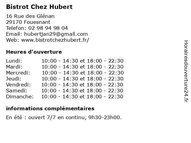Bistrot Chez Hubert à Fouesnant: adresse et heures d'ouverture