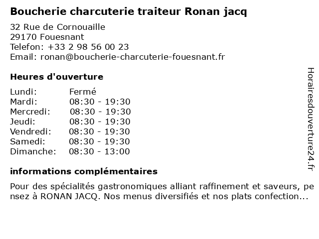 Boucherie charcuterie traiteur Ronan jacq à Fouesnant: adresse et heures d'ouverture