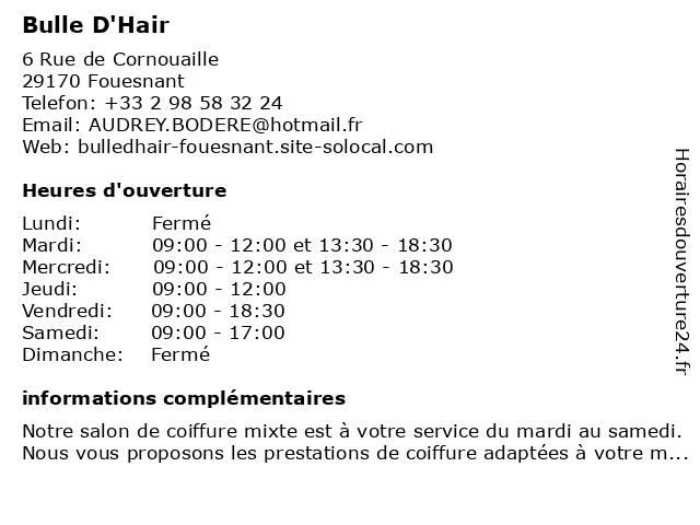 Bulle D'Hair à Fouesnant: adresse et heures d'ouverture