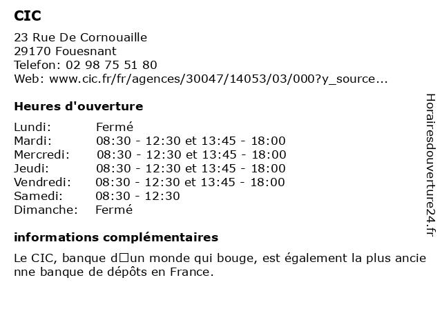 CIC à Fouesnant: adresse et heures d'ouverture