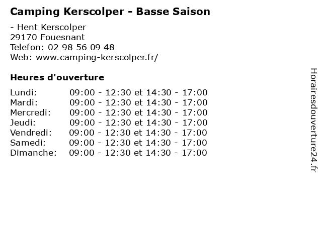 Camping Kerscolper - Basse Saison à Fouesnant: adresse et heures d'ouverture