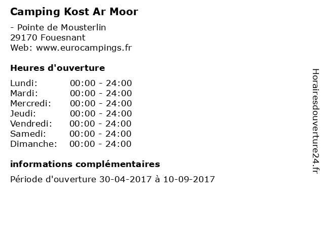 Camping Kost Ar Moor à Fouesnant: adresse et heures d'ouverture