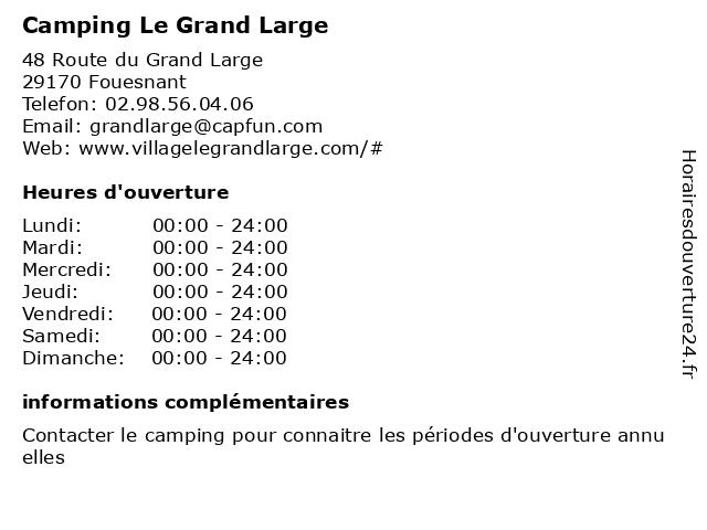 Camping Le Grand Large à Fouesnant: adresse et heures d'ouverture