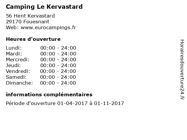 Camping Le Kervastard à Fouesnant: adresse et heures d'ouverture