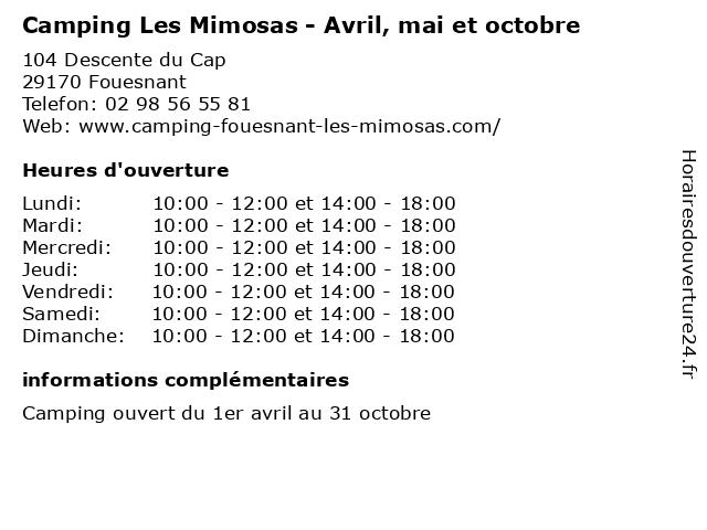 Camping Les Mimosas - Avril, mai et octobre à Fouesnant: adresse et heures d'ouverture