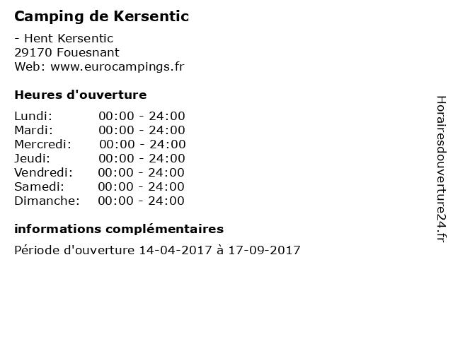 Camping de Kersentic à Fouesnant: adresse et heures d'ouverture