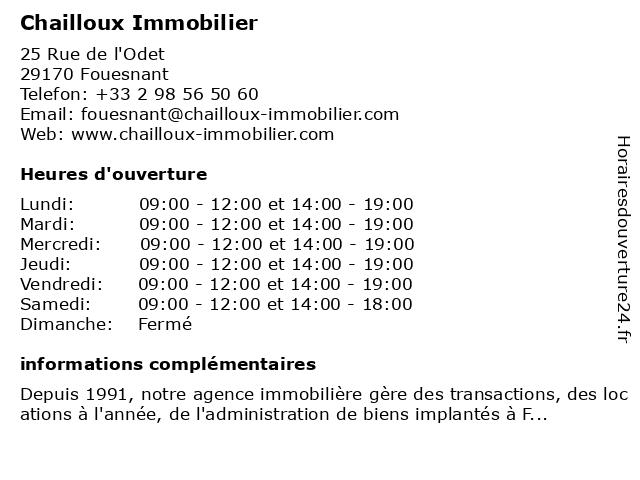 Chailloux Immobilier à Fouesnant: adresse et heures d'ouverture