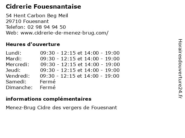 Cidrerie Fouesnantaise à Fouesnant: adresse et heures d'ouverture