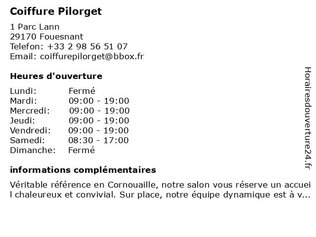 Coiffure Pilorget à Fouesnant: adresse et heures d'ouverture