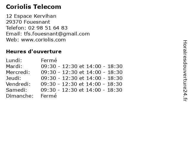 Coriolis Telecom à Fouesnant: adresse et heures d'ouverture