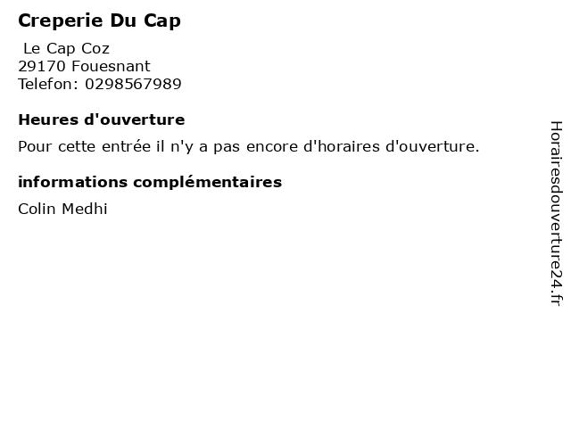 Creperie Du Cap à Fouesnant: adresse et heures d'ouverture