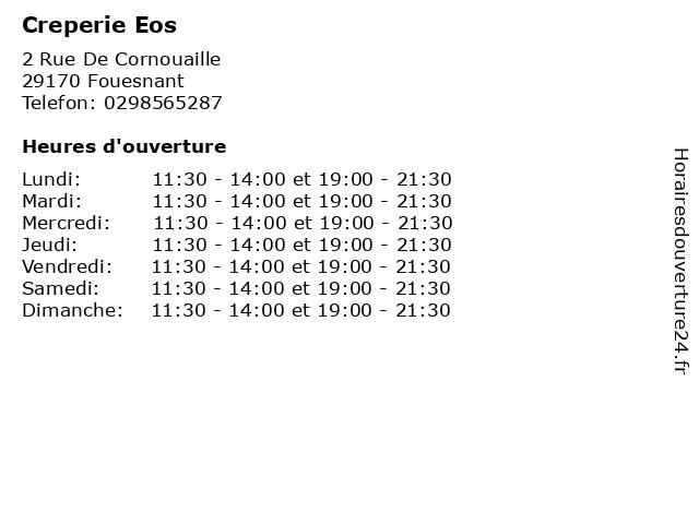 Creperie Eos à Fouesnant: adresse et heures d'ouverture