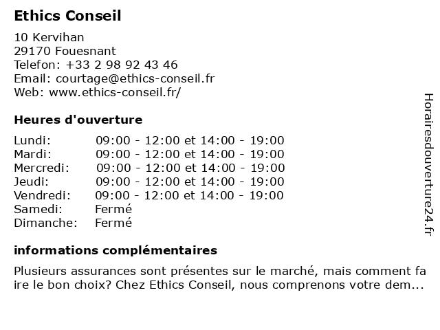 Ethics Conseil à Fouesnant: adresse et heures d'ouverture