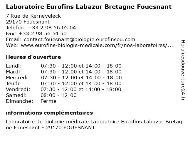 Eurofins Labazur Bretagne Fouesnant à Fouesnant: adresse et heures d'ouverture