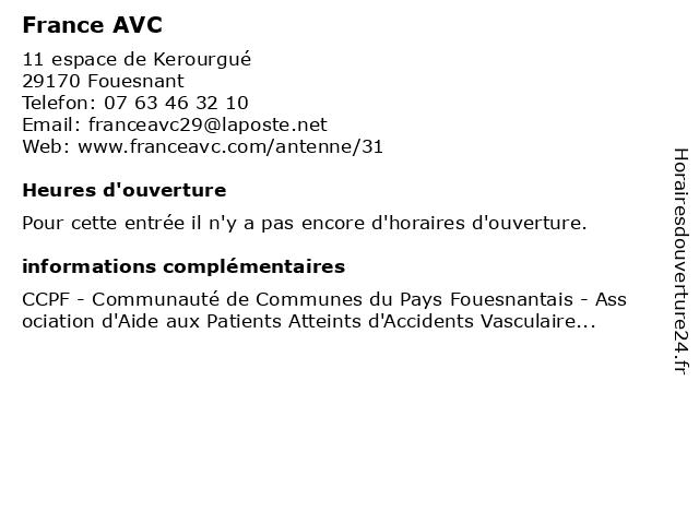 France AVC à Fouesnant: adresse et heures d'ouverture