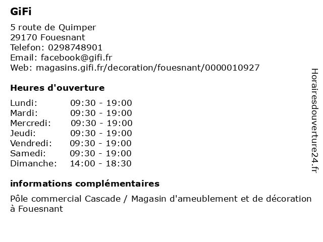 GiFi à Fouesnant: adresse et heures d'ouverture