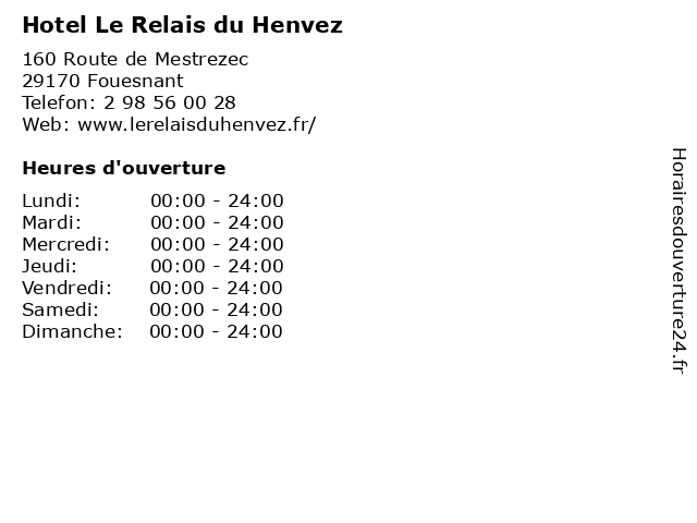 Hotel Le Relais du Henvez à Fouesnant: adresse et heures d'ouverture
