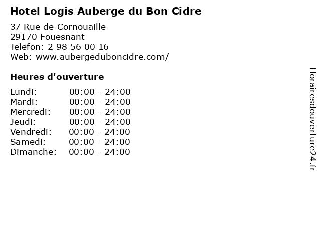 Hotel Logis Auberge du Bon Cidre à Fouesnant: adresse et heures d'ouverture