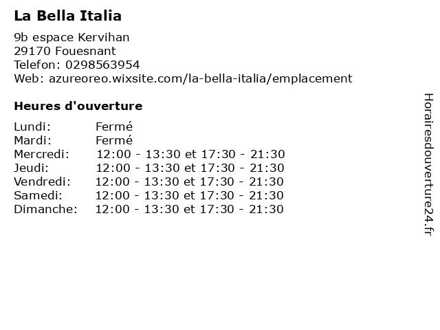 La Bella Italia à Fouesnant: adresse et heures d'ouverture