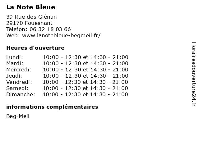 La Note Bleue à Fouesnant: adresse et heures d'ouverture