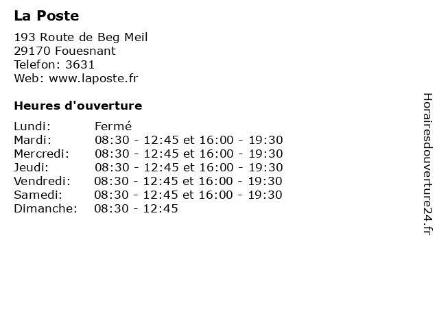 La Poste à Fouesnant: adresse et heures d'ouverture