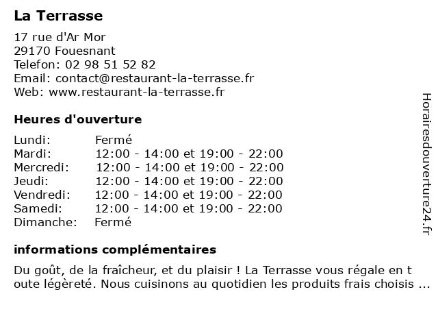 La Terrasse à Fouesnant: adresse et heures d'ouverture
