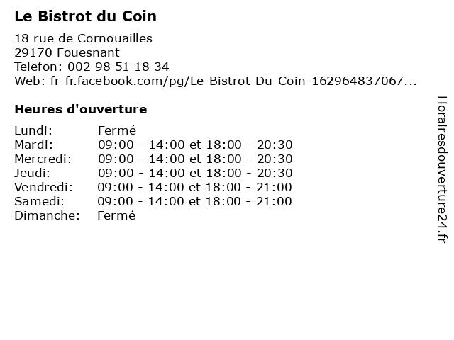 Le Bistrot du Coin à Fouesnant: adresse et heures d'ouverture