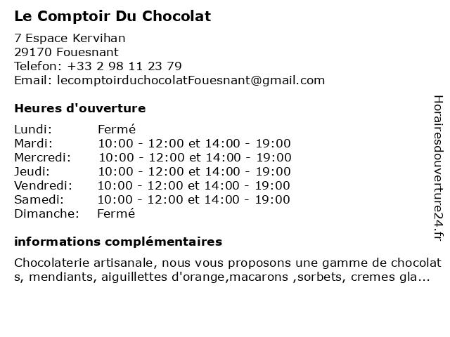 Le Comptoir Du Chocolat à Fouesnant: adresse et heures d'ouverture