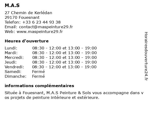 M.A.S à Fouesnant: adresse et heures d'ouverture