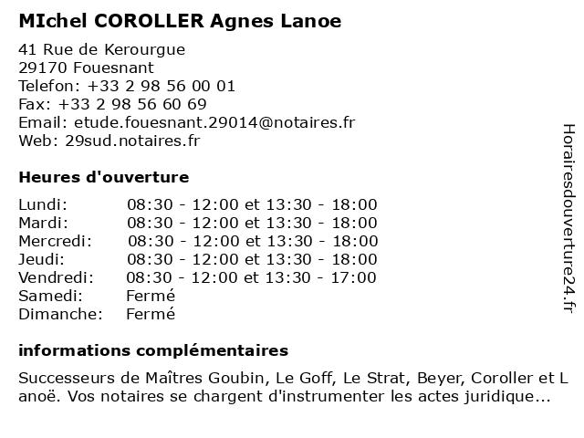 MIchel COROLLER Agnes Lanoe à Fouesnant: adresse et heures d'ouverture